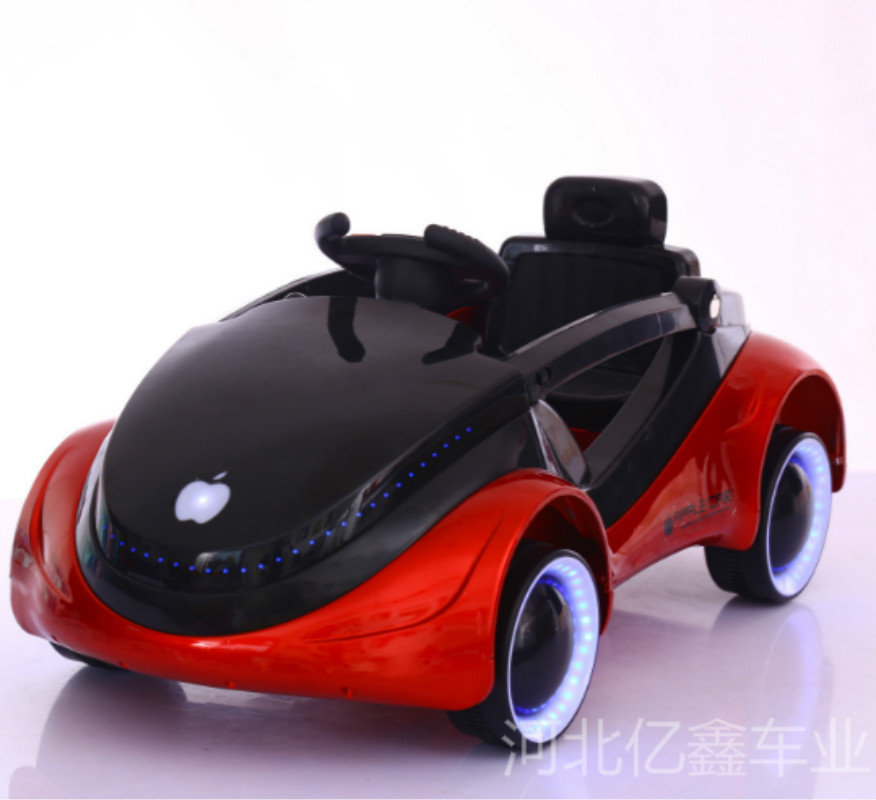 Children's Apple Car Space Science Fiction Children's Electric Car Four Wheel Luminous Belt Remote Control Baby Sitting Toys