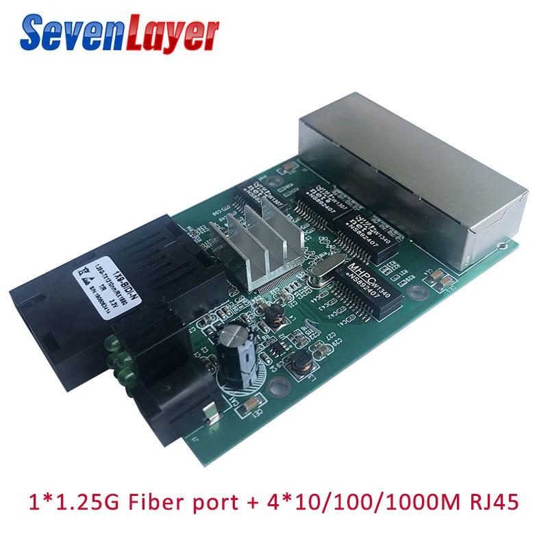 10/100/1000M 4 RJ45 1 SC Fast Ethernet Switch Converter Ethernet Fiber Optical Media Converter Fiber Port PCBA 1.25G