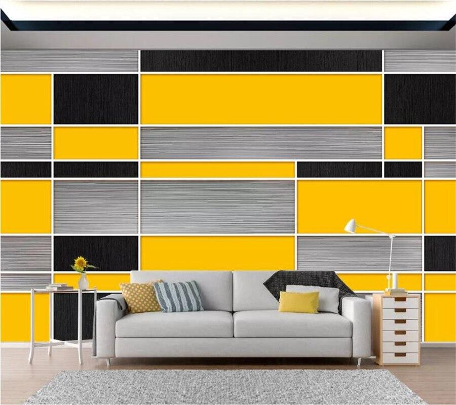 Beibehang Kustom Wallpaper Mural 3D Fashion Modern Minimalis Hitam Kuning Abu abu Geometris Mosaik Latar Belakang