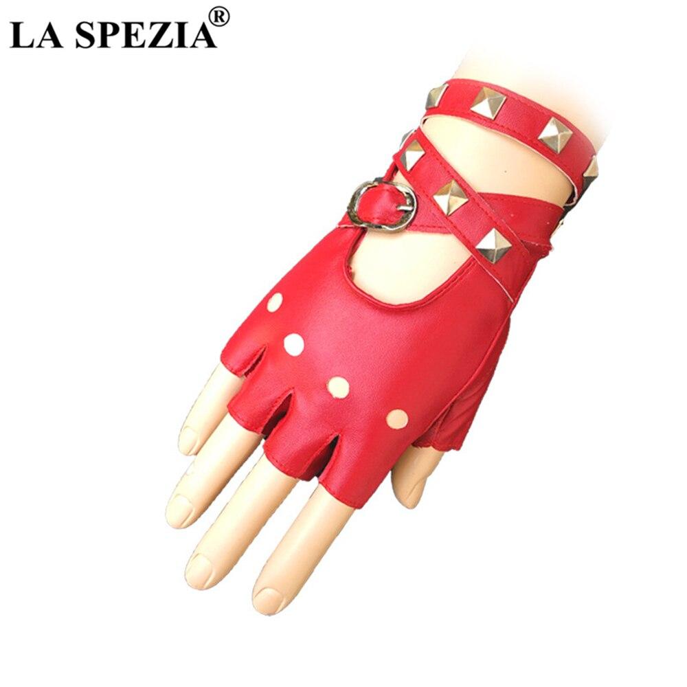 LA SPEZIA Punk Rivet Women Fingerless Mittens Red Black White Rock Gloves Half Finger Stage Ladies Singer Evening Gloves