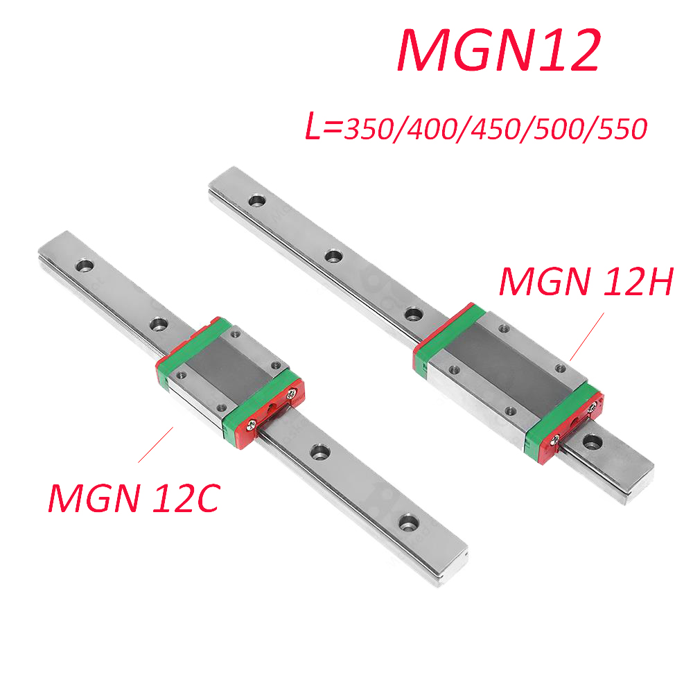 NEW MGN12 Linear Guide 12MM 350 400 450 500 550 mm +MGN12H or MGN12C carriage 3d printer CNC