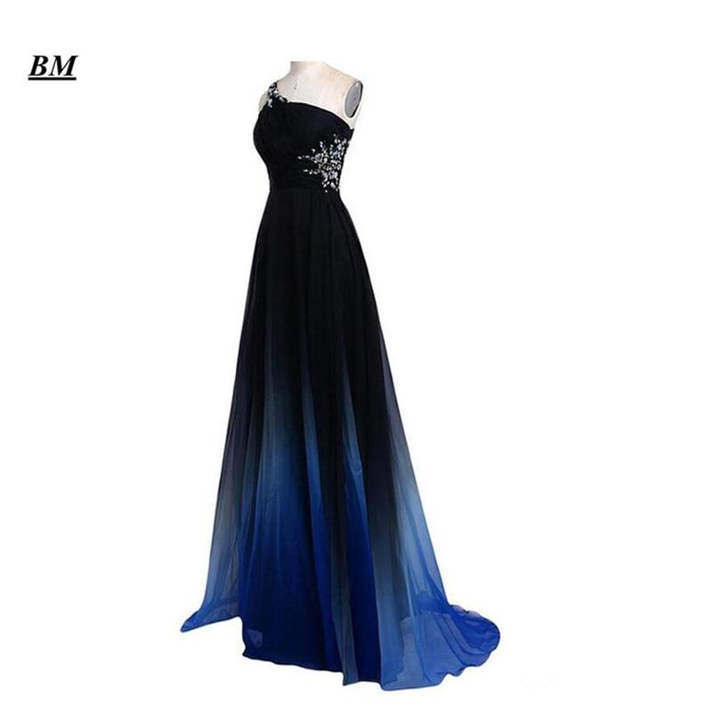2019 Elegant A-line Ombre Prom Dresses Chiffon Beading Long Gradient Formal Evening Dress Party Gown Vestidos De Gala BM110
