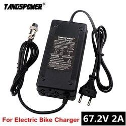 TANGSPOWER 67.2V 2A ładowarka akumulatorów litowych do e-bike 16S 60V akumulator litowo-jonowy taczka elektryczna ładowarka rowerowa z wentylatorem