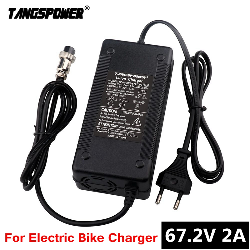TANGSPOWER 67 2V 2A lithium battery charger For e-bike 16S 60V li-ion battery pack Wheelbarrow electric bike Charger With fan