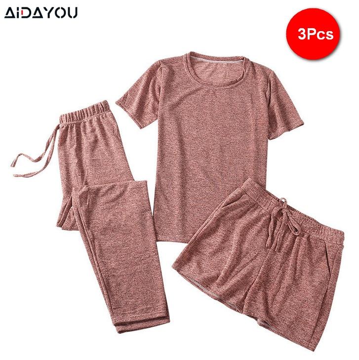 3 Piece Pajama Set Women Top Short Capri Pants Sleepwear Suit Nightwear ultimate Comfort Sports Homewear ouc287
