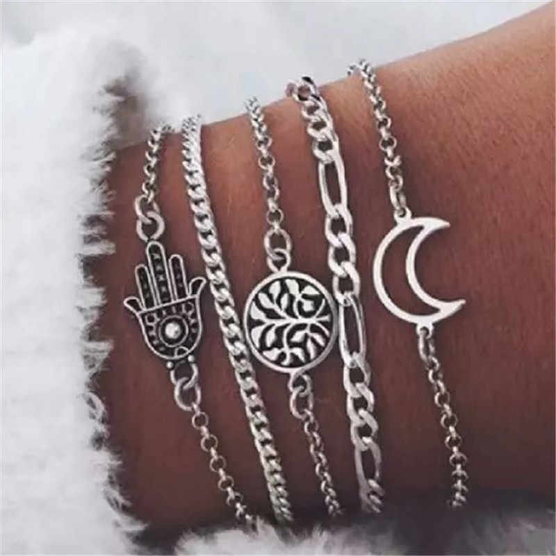 LUSION 5Pcs/ Set Vintage Moon Hand plant Bracelet Set Women Charm Beach Jewelry Multilayer Retro Bangles Female 2019 New Sale