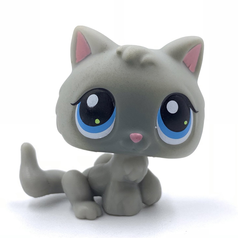 Rare Original Pet Shop Toys Cat #66 Light Grey Baby Kitty Cute Animal Kitten For Kids Collection