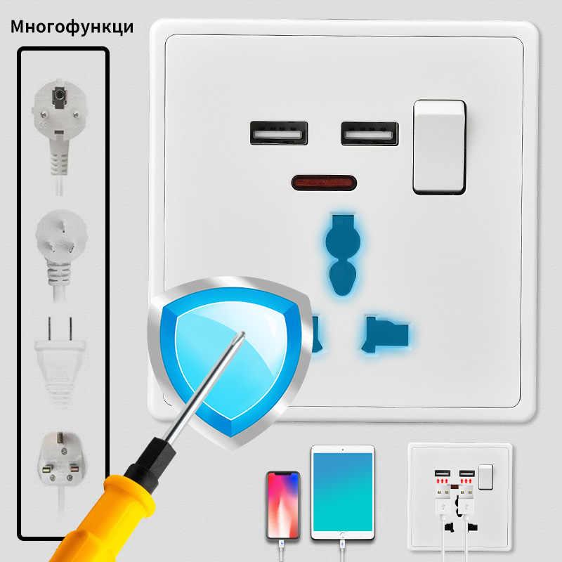 Herepow 13A 범용 3 핀 벽 소켓 인터럽터 De Pared USB 충전 포트 벽 패널로 전환