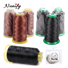 Nunify 1 Roll Black And Brown Hair Thread+12 Pcs Curved Hair Needle Hair Thread For Wig Hair Weaving Thread And Wig Making Tools