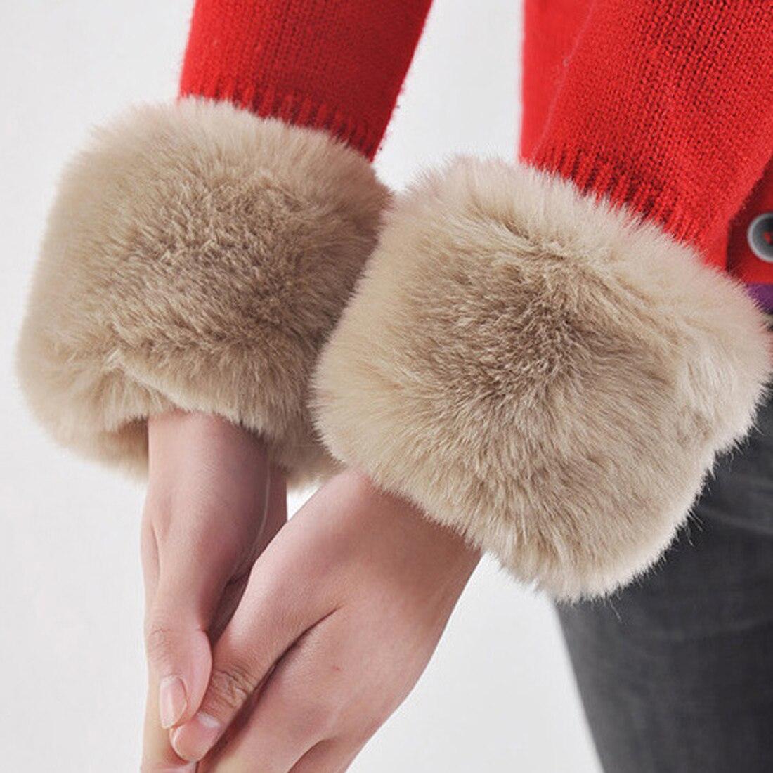 Fashion Winter Warm Women Faux Fur Elastic Wrist Slap On Cuffs Arm Warmer Plush Solid Color Gloves Soft  Arm Warmer High Qaulity