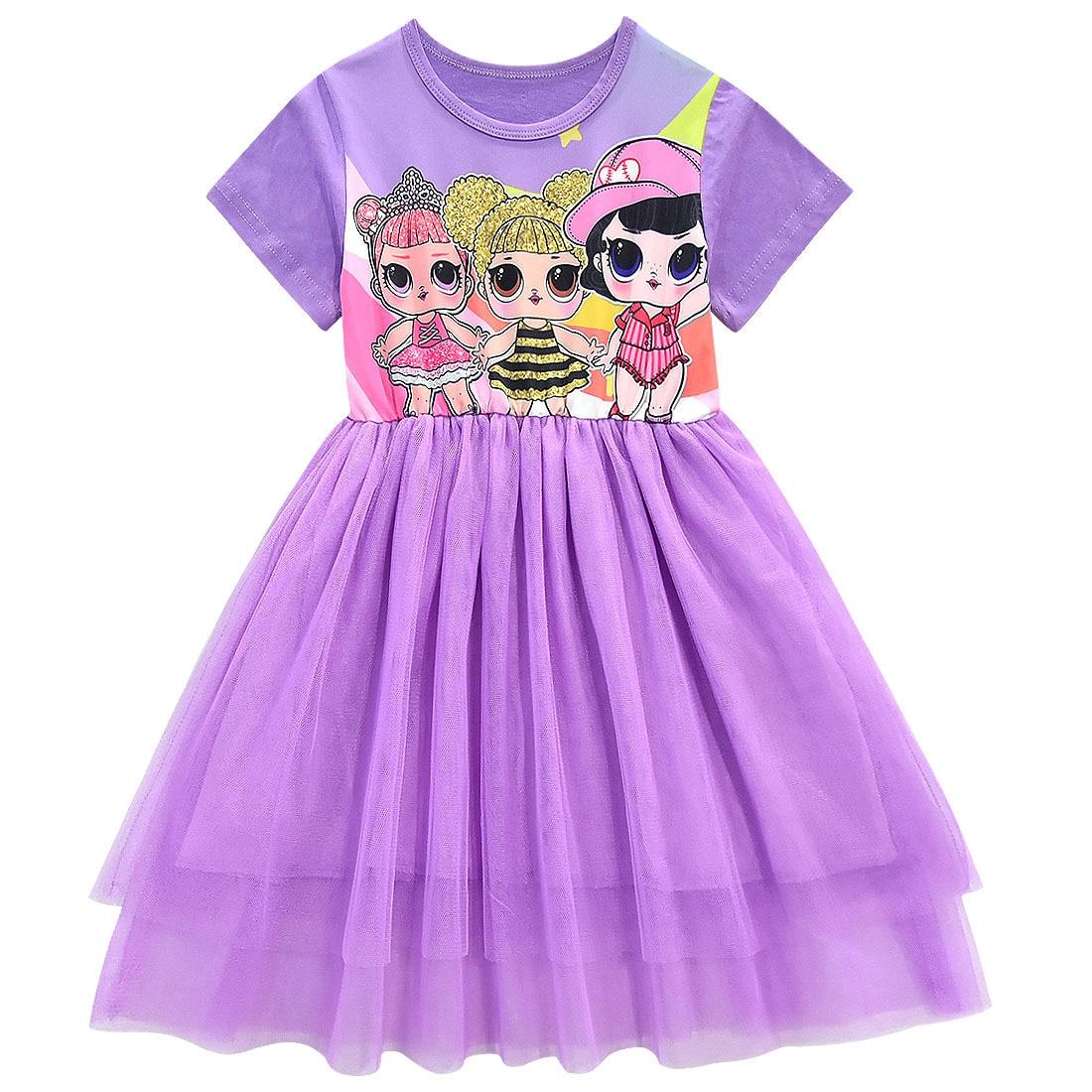 Girls Lol Dress Toddler Baby Lol Doll Clothes Kids Cartoon Print Princess Dress Children Short Sleeve Birthday Vestido for Girl 5
