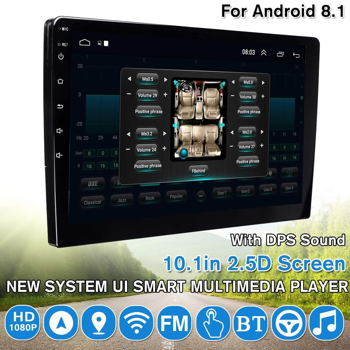 10.1 pouces Android 8.1 autoradio lecteur vidéo DPS son stéréo 2.5D écran WIFI GPS DVR FM Quad Core UI lecteur multimédia intelligent