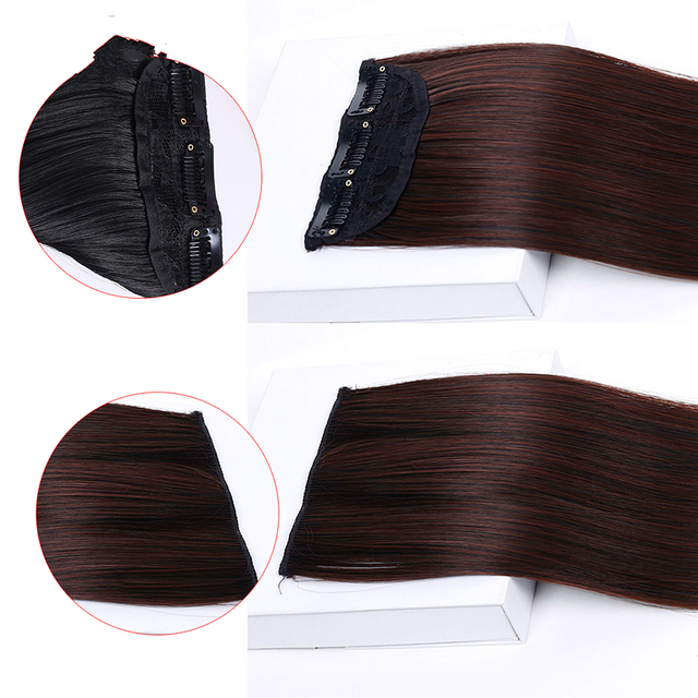Long and Straight Synthetic Hair Extension Clip