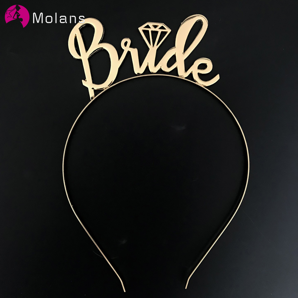 MOLANS Solid Hair Accessories Hair Bands Hoop New Arrival Metal Word Bride Headband Fashion Cute Wedding Headdress Headwear