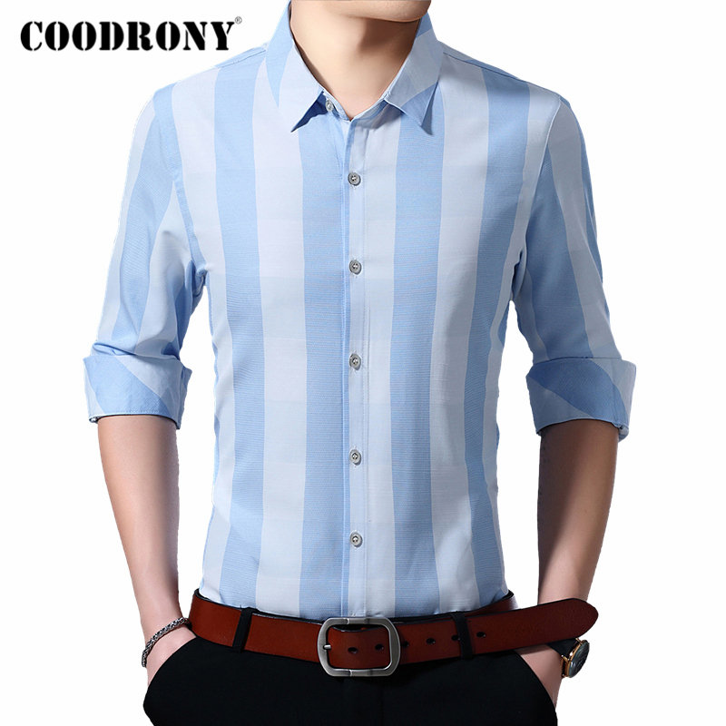 COODRONY Brand Men Shirt Fashion Striped Business Casual Shirts Autumn Long Sleeve Shirt Men Soft Cotton Camisa Masculina 96085