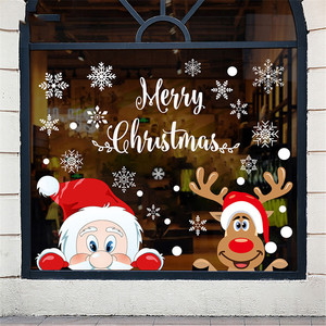 Removable Christmas PVC Static Sticker Santa Elk Window Stickers Beautify snowflake Wall Decals New Year Party Glass Dress up