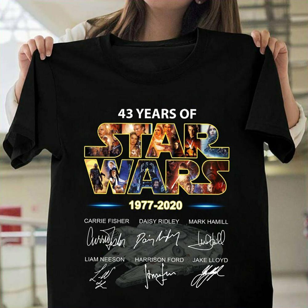 43 Years Of Star Wars 1977 2020 Signature T-Shirt 2019 Fahion Man's Tee