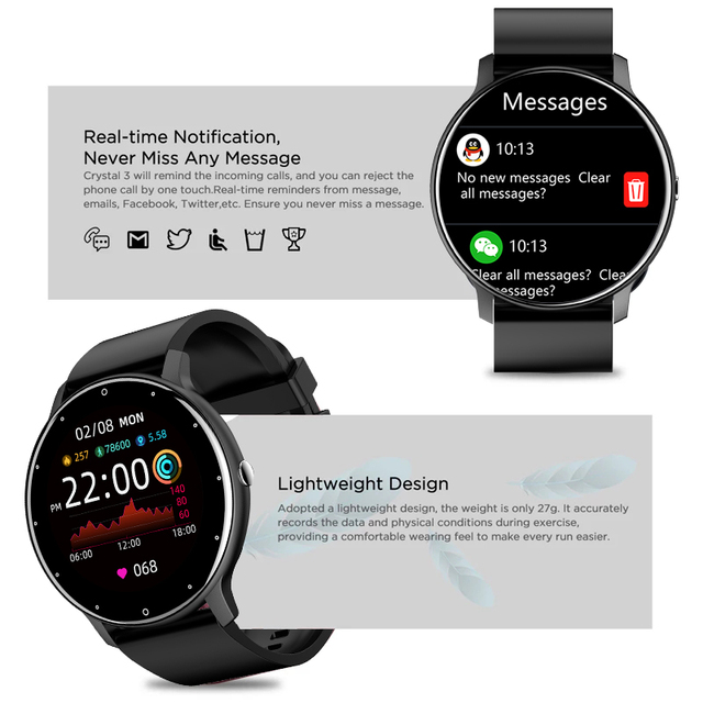 LIGE New 2021 Full touch Female Digital watch waterproof Sports suitable for Android IOS multifunction Electronic watch male+Box 6