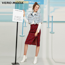 Vero Moda New Sheep Wool Houndstooth Single Slit Skirt | 319316547