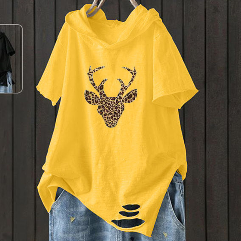 F&je New Fashion Summer Women T Shirt Plus Size Short Sleeve Loose Casual Hooded Tee Shirt Hole Cotton Femme Print Tops D32 4