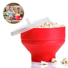 Microwave Popcorn Popper Silicone Maker Creative Heat Resistant Collapsible Bowl with Lid Kitchen Tableware Tools 30E