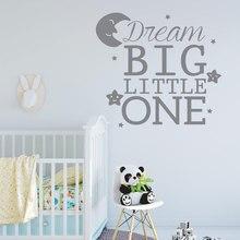 Dream Big Little One Decals Vinyl Art Home Decoration Kids Room Nursery Moon Star Wall Sticker Removable Murals Wallpaper 3672