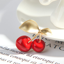 1 Pc  Cherry Shape Metal Enamel Brooch Beautiful Pure and Fresh for Women Fashion Lapel Pins Hat Badges Kid Jewelry accessories