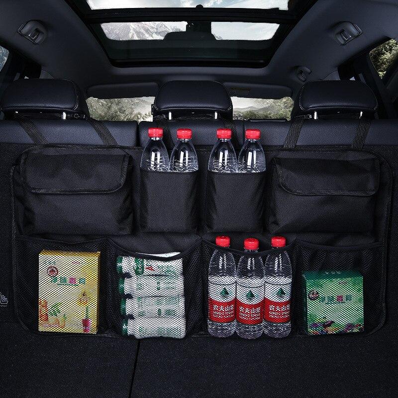 Автомобильная Задняя сумка для хранения на спинку сиденья, многофункциональные подвесные сетки, карманная сумка-Органайзер для багажника, ...