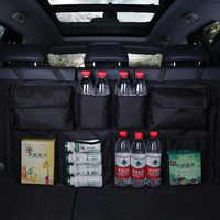 Banco traseiro do carro de volta saco armazenamento multi pendurado redes bolso tronco saco organizador auto estiva tidying acessórios interiores suprimentos