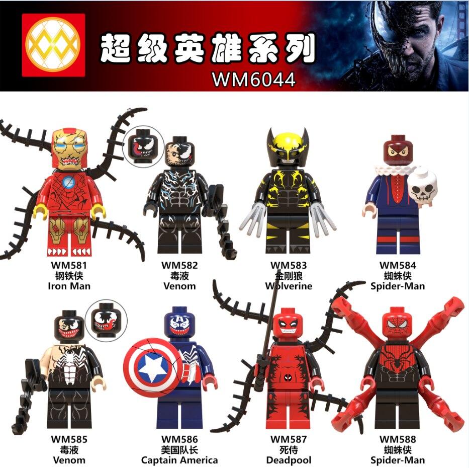 WM6044 Única Venda Homem De Ferro Capitão América Venom Wolverine Deadpool Spiderman Figura Blocos de Construção de Brinquedos As Crianças Presentes DIY