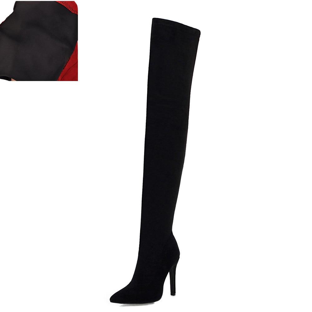 Новая Брендовая женская обувь женские ботфорты выше колена, большие размеры 32-48 пикантные вечерние сапоги на тонком высоком каблуке Женская обувь - Цвет: Black without plush