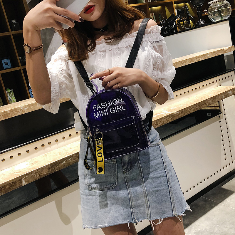 Fashion Women Backpack Girls Small Backpack Travel Black Clear Bag Shoulder Bags Gift /BY