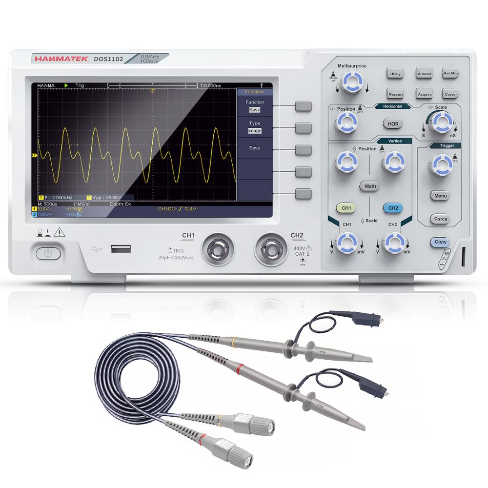 Dos1102 osciloscópio digital, osciloscópio digital de 2 canais de 100mhz 1gsa/s 7 'tft lcd melhor que ads1102cal + kit de osciloscópio