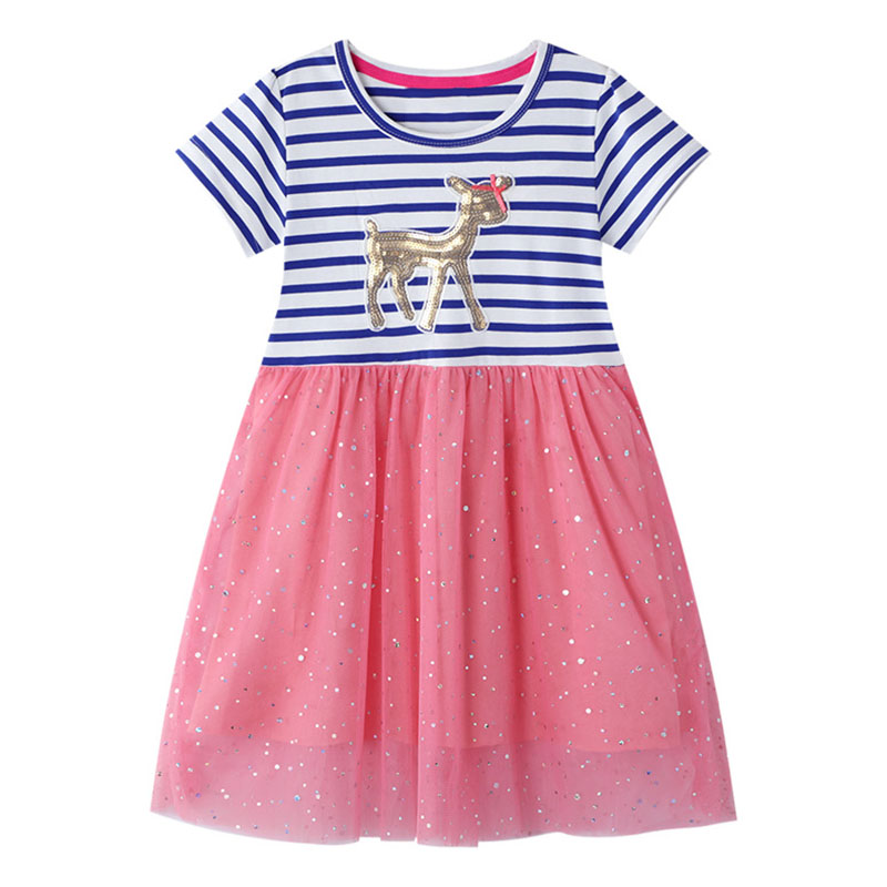 Kids Unicorn Dresses Kids Sequins Dresses for Girl Striped Dress Girls Casual Dress Children Licorne Clothing Girl Summer Dress