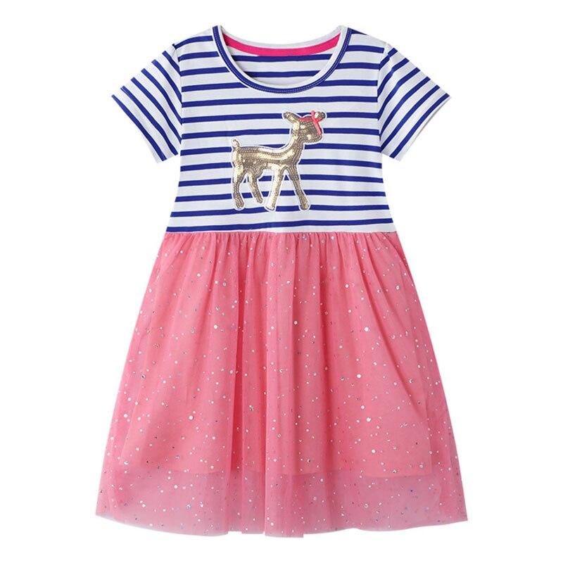 Crianças vestidos de unicórnio crianças lantejoulas vestidos para a menina vestido listrado meninas vestido casual crianças licorne roupas menina vestido de verão