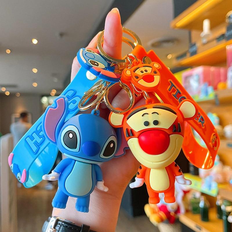 Disney Anime Cartoon Mickey Mouse Stitch Figure Keychains Kawaii Minnie Donald Duck Piglet Key Chain Model Kid Toy Children Gift