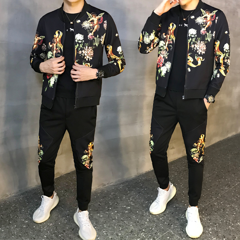 Men Tracksuit Sweater Shirt Jacket Sport Suit Sets Trouses Pants Floral