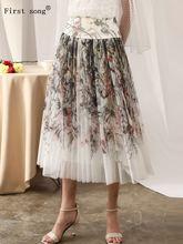 Женская сетчатая юбка с 3d принтом летняя плиссированная высокой