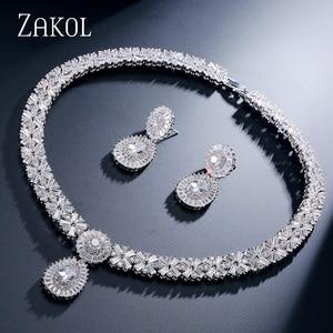 Image 2 - ZAKOL ensembles de bijoux de mariage en Zircon exquis, collier, boucles doreilles, bague ou Bracelet complet pour femmes, FSSP312
