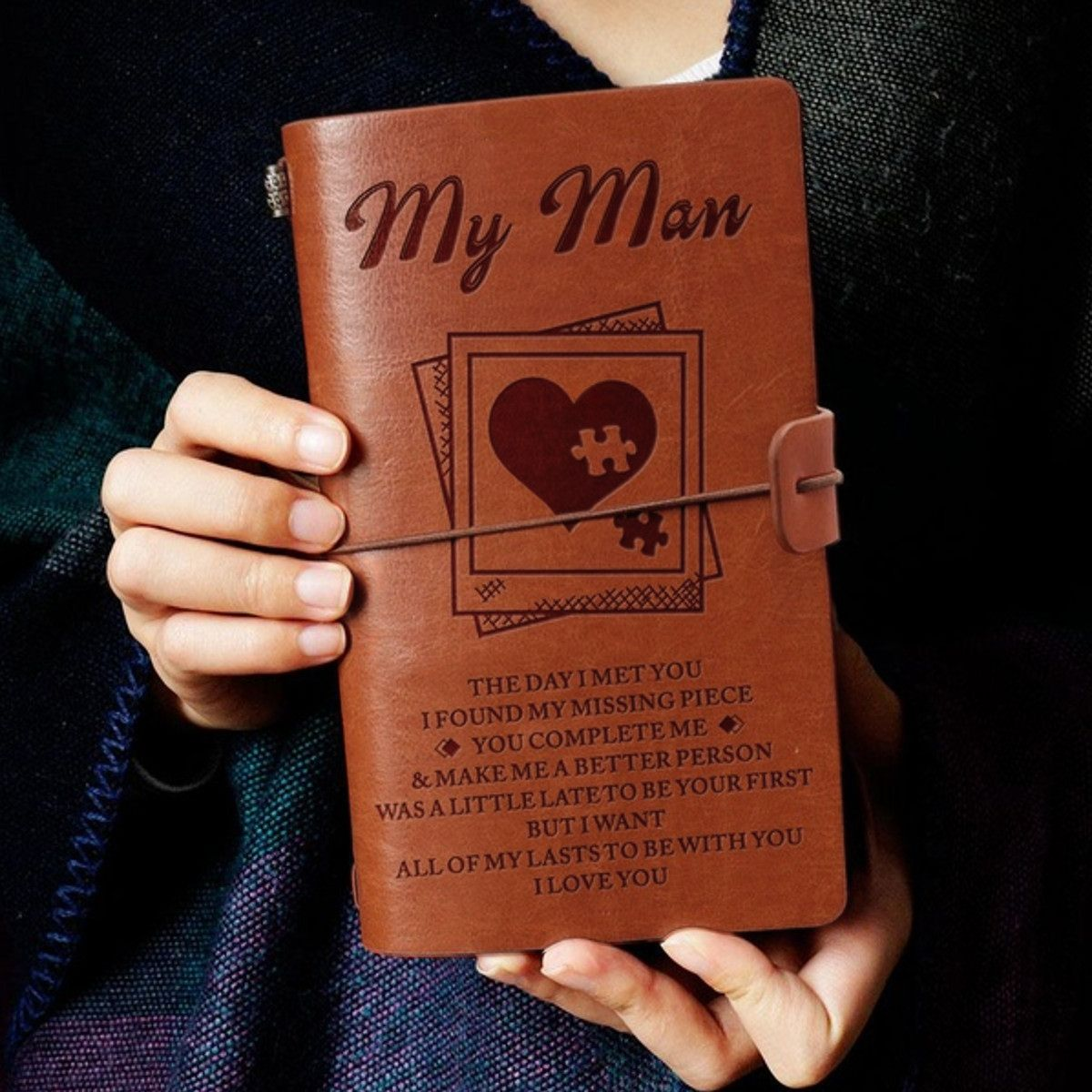 3 Types Engraved Leather Journal Notebook Diary To My Son/My Man/My Wife Engraved Notebook Diary 20x12cm New