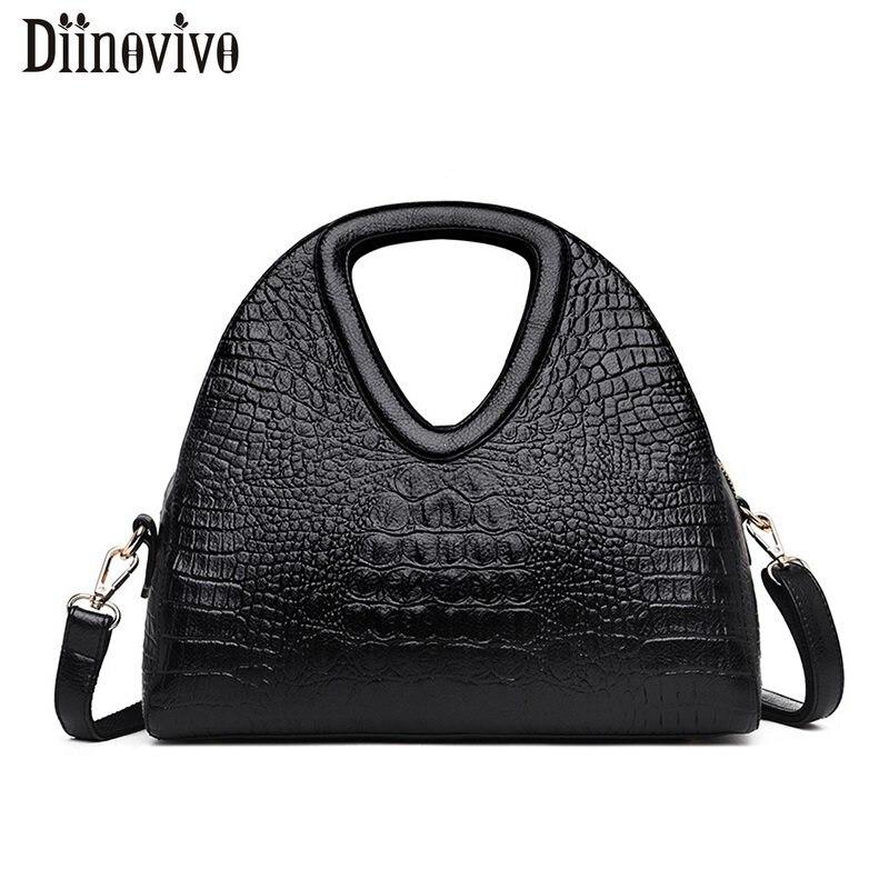DIINOVIVO Crocodile Pattern Bags For Women High Quality Handbags Luxury Brand Shoulder Female Crossbody WHDV1226