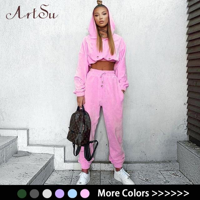 Artsu Flannel 2 Two Piece Set Sport Suit Pink Fleece Crop Top Hoodies Sweat Pants Women Matching Sets Clothing Outfit Sportswear 1
