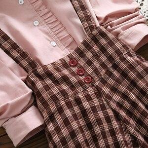 Image 5 - 2019 Autumn Women Two piece set Casual Long Sleeve Cotton Shirt Tops + Long Plaid Skirts Womens Suit Set 2 Piece Set Women