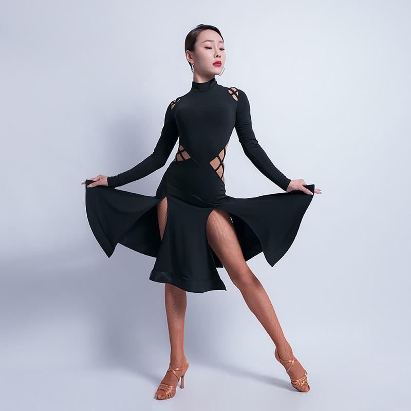Тонкое Платье для латинских танцев, женское платье для танго, самбы, ча, ча, румбы, сальсы, бальных тренировок, женская одежда с длинным рукавом, одежда для выступлений DC3044 - Цвет: Черный