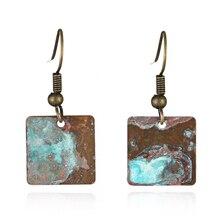 Antique square shape patina drop earring