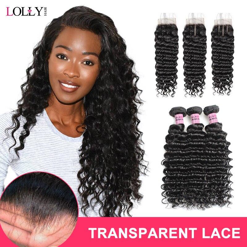 Brazilian Deep Wave Bundles With Closure HD Transparent Lace Closure with Bundles Human Hair Bundles with Closure Lolly Remy