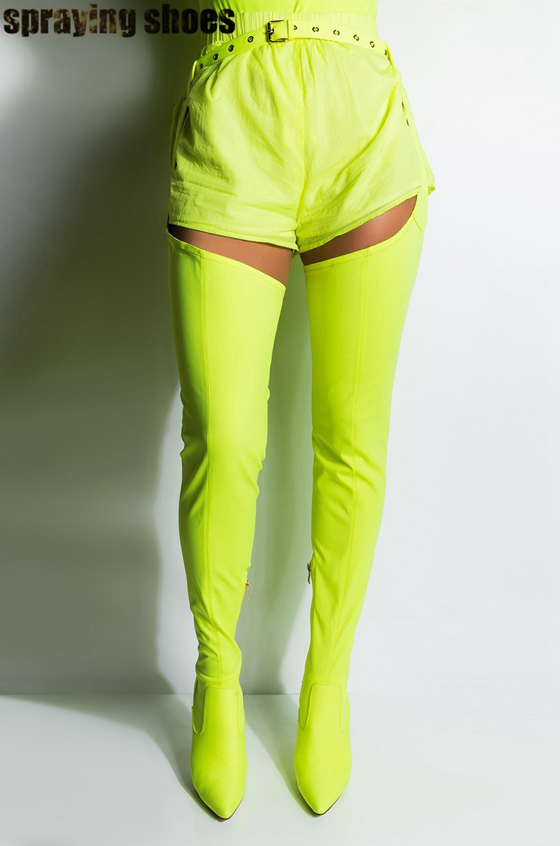 2019 Autumn Neon Green Belted Thigh High Stiletto <font><b>Chap</b></font> Boots Women Pointy Toe Over The Knee Strench High Boots <font><b>Sexy</b></font> Ladies Shoes image