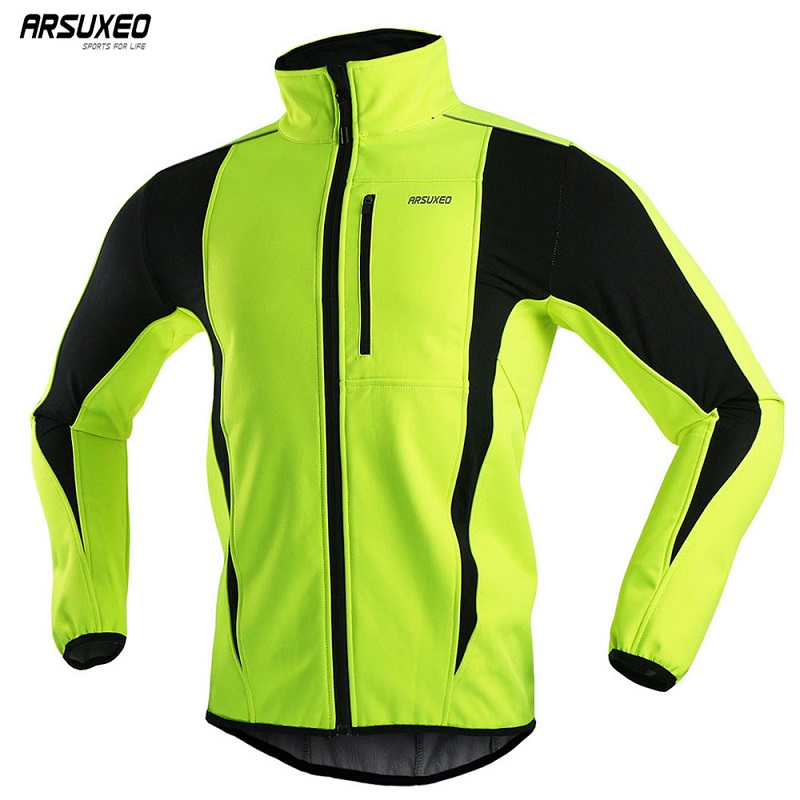 ARSUXEO Men's Winter Cycling Jacket Fleece Bike Jersey Windproof Waterproof Soft shell Coat MTB Bicycle Clothing Reflective 15K(China)