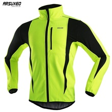ARSUXEO Mens Winter Cycling Jacket Fleece Bike Jersey Windproof Waterproof Soft shell Coat MTB Bicycle Clothing Reflective 15K