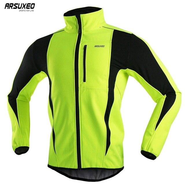ARSUXEO Mens Winter Cycling Jacket Fleece Bike Jersey Windproof Waterproof Soft shell Coat MTB Bicycle Clothing Reflective 15K